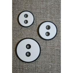 2-huls knap m/sort kant, hvid 15 mm.-20
