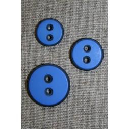 2-huls knap m/sort kant, klar blå 15 mm.-20