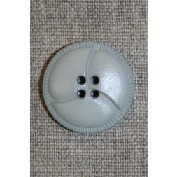4-huls knap i læder-look, lysegrå 25mm.-20
