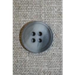 4-huls knap lysegrå/grå meleret, 18 mm.-20