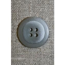 Lysegrå 4-huls knap m/kant, 18 mm.-20
