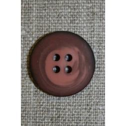 4-huls knap meleret mørk brun-rosa, 20 mm.-20