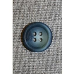 4-huls knap grå-blå meleret, 15 mm.-20