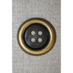 Stor 4-huls knap gl.guld, 38 mm.-20