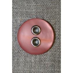Knap m/sølv-huller, rosa 22 mm.-20