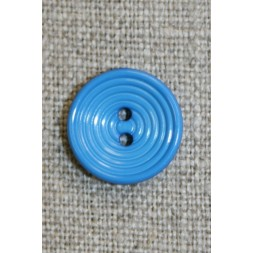 2-huls knap m/cirkler, klar mellem-blå, 15 mm.-20