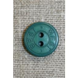 2-huls knap m/tekst, flaskegrøn 15 mm.-20