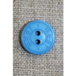 2-huls knap m/tekst, klar blå 15 mm.-20