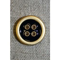 4-huls knap m/guld-kanter, sort 18 mm.-20