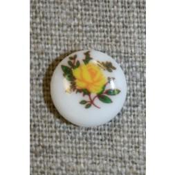 Hvid knap m/gul rose, 13 mm.-20