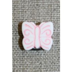 Knap m/sommerfugl, hvid/lyserød-20