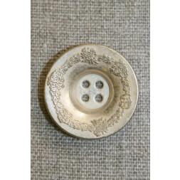 4-huls metal-knap antik look mat sølv, 28 mm.-20
