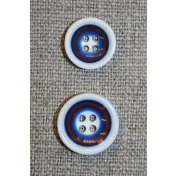 Flerfarvet knap m/cirkler, hvid/blå-20