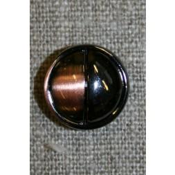 2-delt knap kobber/gun-metal, 15 mm.-20