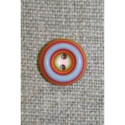 Flerfarvet knap m/cirkler, rød/lyseblå/lyserød, 13 mm.-20