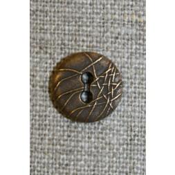 2-huls knap m/streger, gl.guld 13 mm.-20