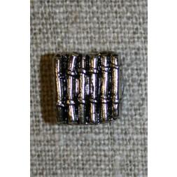 Firkantet knap m/riller, sølv/sort-20