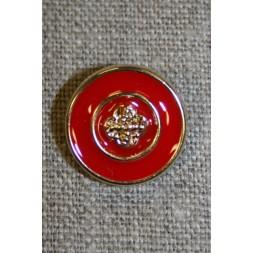 Rød/guld knap, 18 mm.-20