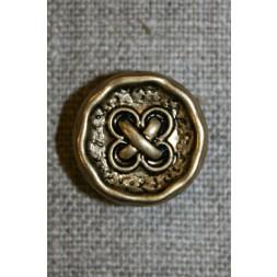 Knap m/kryds guld/sort, 18 mm.-20