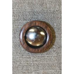 Sølv knap m/træ-kant,-20