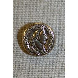 Guldknap i mønt-look, 15 mm.-20
