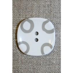 Hvid knap m/grå cirkler, 26 mm.-20