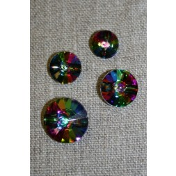 Crystal/simili knap m/kanal multifarvet 11 mm.-20