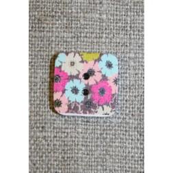 Knap træ m/print, firkant m/blomster, brun-20