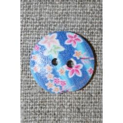 Knap træ m/print, rund blå m/blomster-20