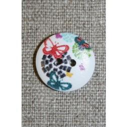 Knap træ m/print, rund hvid m/blomster and sommerfugl-20