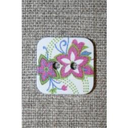 Knap m/print, firkant m/blomster, hvid/lyng/lime-20