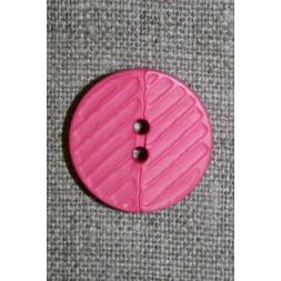 Pink 2-huls knap m/riller, 23 mm.-20