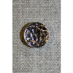 Knap m/blomster sort/sølv, 15 mm.-20