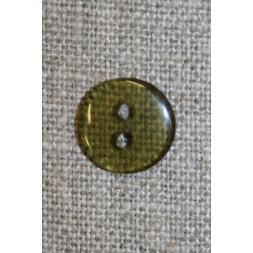 Klar brun/grøn 2-huls knap, 13 mm.-20