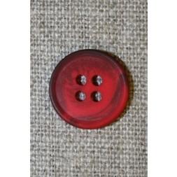 4-huls knap meleret rød/mørkerød, 15 mm.-20