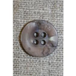 4-huls knap krakeleret lys grå-brun, 15 mm.-20