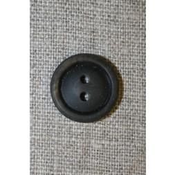 Brun meleret 2-huls knap m/kant, 18 mm.-20