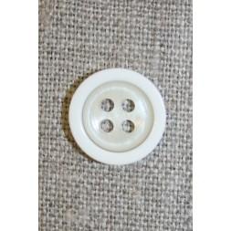 4-huls knap off-white m/hvid kant, 15 mm.-20