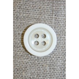 4-huls knap off-white m/hvid kant, 18 mm.-20