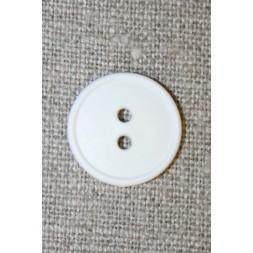 2-huls knap hvid m/kant, 18 mm.-20