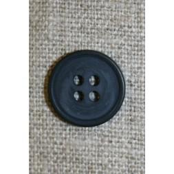 4-huls knap støvet mørkeblå, 15 mm.-20