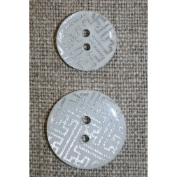 2-huls knap m/grafisk mønster, hvid/sølv, 20 mm.-20