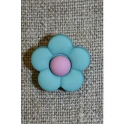 2-farvet blomsterknap aqua/lyselilla-20