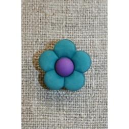 2-farvet blomsterknap petrol/mørkelilla-20
