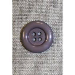 4-huls knap grå m/kant, 20 mm.-20