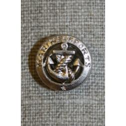 Sølv knap m/anker and tekst-20