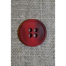 4-huls knap hindbærrød/vinrød meleret, 15 mm.-20