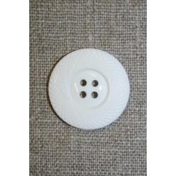 4-huls knap hvid m/mønster-kant, 25 mm.-20