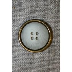 4-huls knap off-white meleret m/guld kant, 22 mm.-20