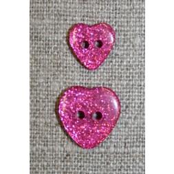 Knap m/glimmer, hjerte i pink, 11 mm.-20